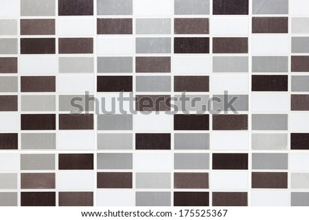 texture, background of the white tile on the wall is mosaic pattern in the bathroom - stock photo