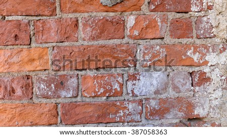 Texture background. Old brick wall. City walls. Abstract street. Wall of red bricks - stock photo