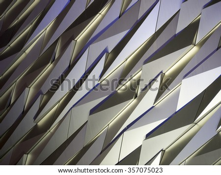 Texture detail on Titanic Visitor Centre, Belfast, Northern Ireland. - stock photo