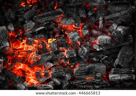 Texture embers closeup. Embers after a fire. - stock photo