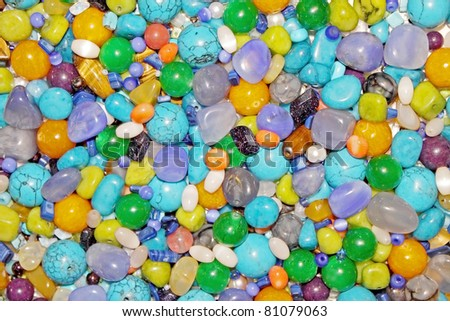 Texture from the different semi precious stones - stock photo