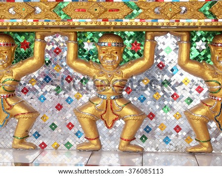 Texture from wall in Thai temple - stock photo