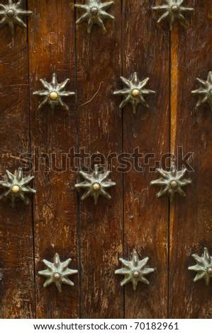 Texture of a wooden door in colonial city of Cartagena, Columbia - stock photo