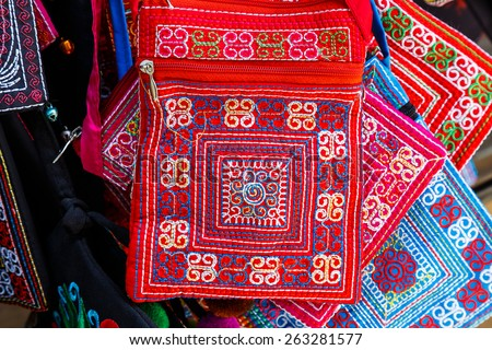 Texture of asian vintage bag in shop - stock photo