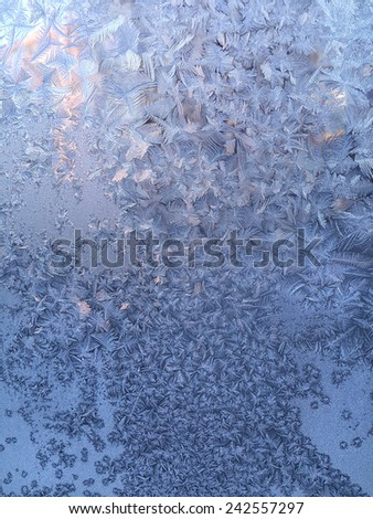 Texture of beautiful ice pattern on winter glass - stock photo