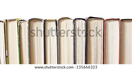 Texture of book page on side view, background. - stock photo