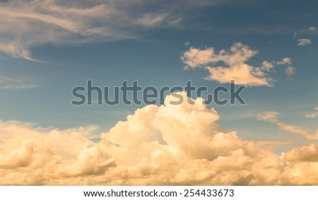 Texture of bright blue dramatic white cloud sky - stock photo