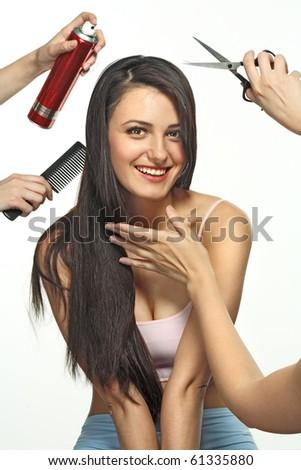 Texture of brunette long hair - stock photo