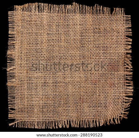texture of Burlap hessian square with frayed edges on black background - stock photo