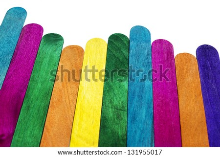 texture of colorful wooden fence - stock photo
