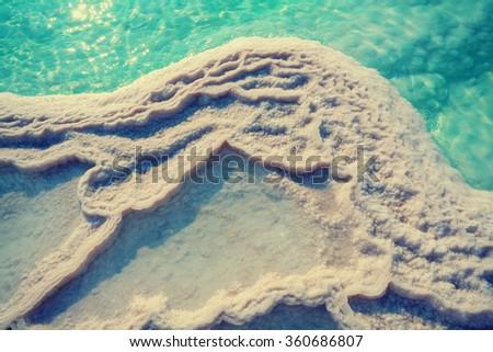 Texture of Dead sea. Salt sea shore - stock photo