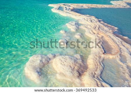 Texture of Dead sea. Salty sea shore - stock photo