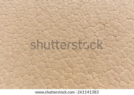 Texture of dry cracked clay lake floor from above - stock photo