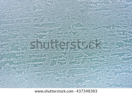 texture of frost on the glass - stock photo