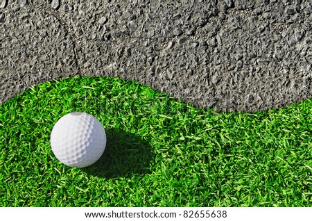 texture of green grass golf course and a stone - stock photo