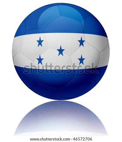 Texture of Honduras flag on glossy soccer ball - stock photo