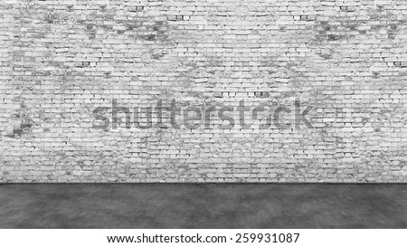 Texture of long empty white brick wall and foreground - stock photo