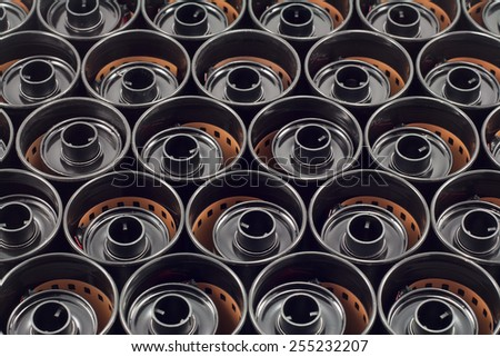 texture of mm  film cases with films - stock photo