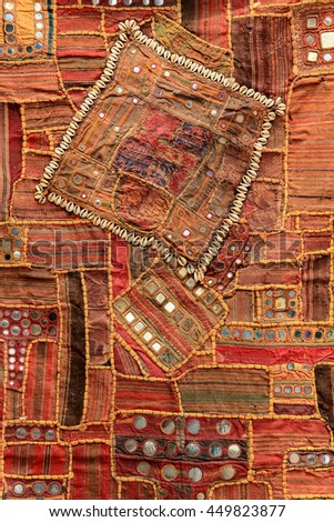 Texture of Nepalese national fabric, background. - stock photo