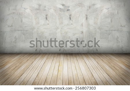 Texture of Old grunge wall and wooden floor - stock photo