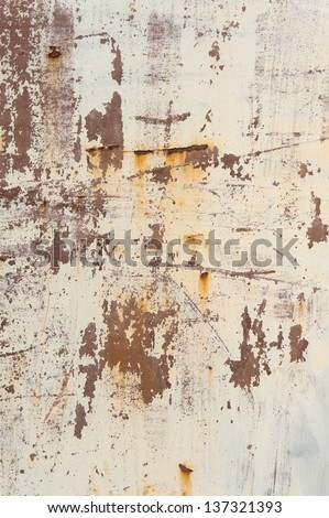 Texture of old rusty beige wall beige wall - stock photo