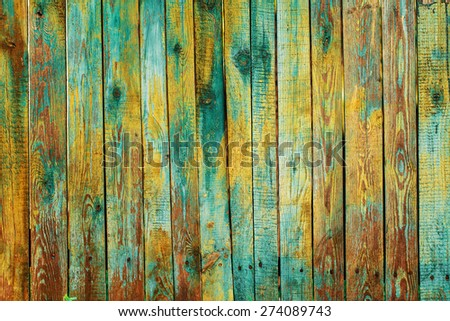 Texture of old wooden planks with peeling paint - stock photo