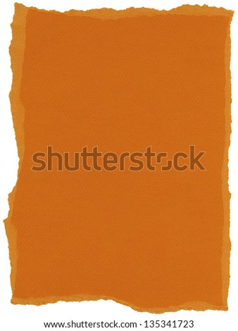 Texture of orange fiber paper with torn edges. Isolated on white background. - stock photo