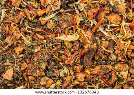 Texture Of Orange Tea Leaves - stock photo