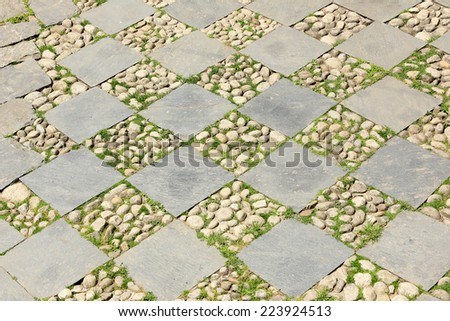 Texture of paving slabs, background. Everest region, Nepal. - stock photo