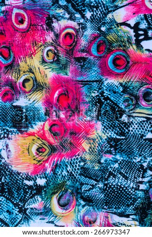 texture of print fabric striped peacock feather and snake for background - stock photo