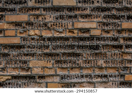 texture of ruined brick wall - stock photo