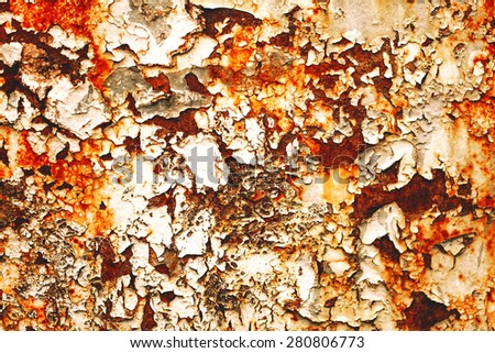 Texture of rusty with drip on steel wall background - stock photo