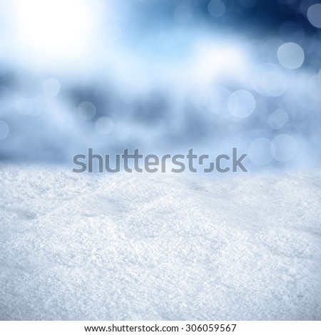 texture of snow and blue cold background of blurr  - stock photo