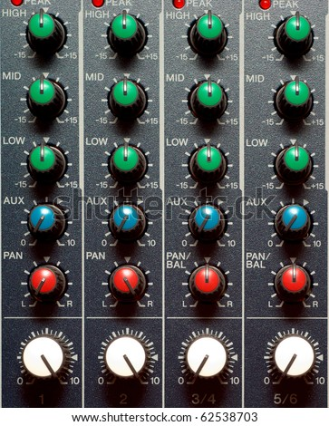 Texture of sound mixer. Techno design. - stock photo