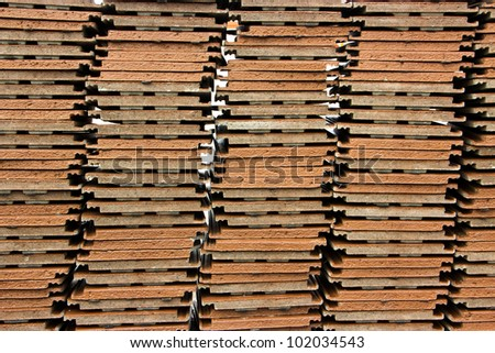 Texture of stack roof tile prepare to use. - stock photo