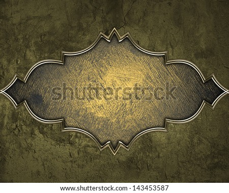 Texture of stone with gold trim on grunge yellow background. Design template. Design element - stock photo
