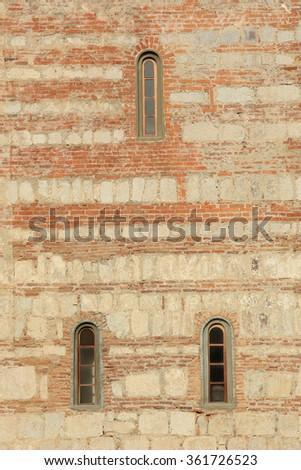 Texture of the wall Patriarchal Cathedral. Pitsunda, Abkhazia.  - stock photo