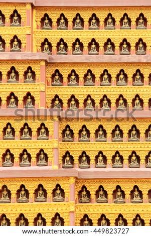 Texture of the walls in a Buddhist temple. Kathmandu, Nepal. - stock photo