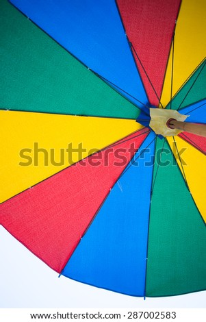 Texture of under Colorful umbrella - stock photo
