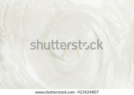 Texture of white tasty creamy mass. Yogurt, sour cream, cheese background. - stock photo