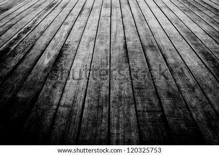 texture of wooden boards floor Black and white - stock photo