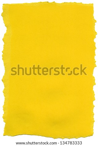 Texture of yellow fiber paper with torn edges. - stock photo