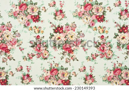 texture, print and wale of fabric in seamless beautiful floral pattern - stock photo