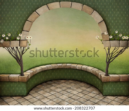 Texture vintage background with arch and trees - stock photo