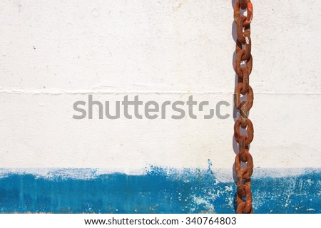 Texture white and the blue painted iron wall. Grunge background. - stock photo