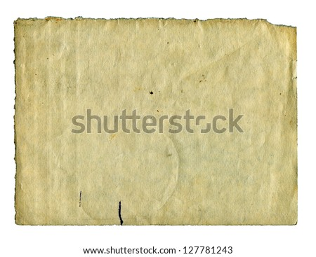 Textured aged dirty grainy torn paper isolated - stock photo