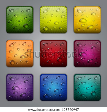 Textured application buttons with water drops. Raster version - stock photo