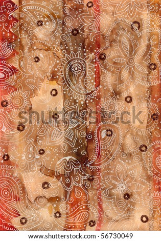 Textured background with henna style paisley created with watercolor and ink. - stock photo