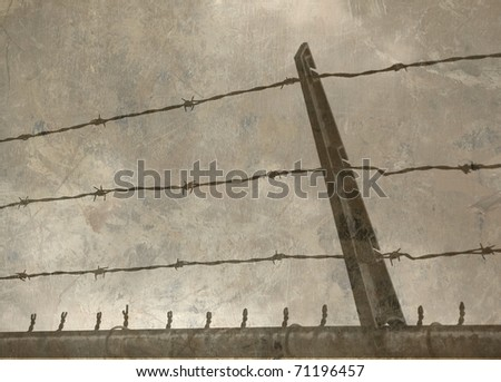 Textured Barbed Wire Fence Against a Cloudy Sky, Desaturated - stock photo