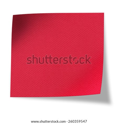 Textured blank red paper isolated on white background - stock photo